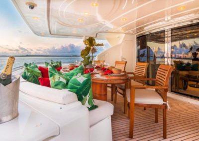 94 Ferretti yacht aft deck dining