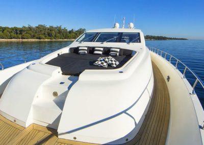101 Leopard yacht bow sunpads
