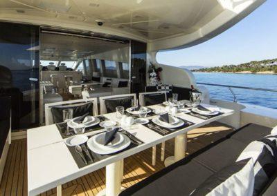 101 Leopard yacht aft deck dining