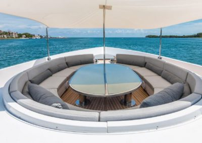 120' Tecnomar yacht bow seating