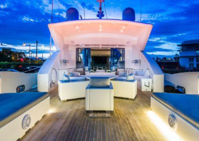 120' Tecnomar yacht aft deck
