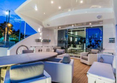 120' Tecnomar yacht aft deck seating