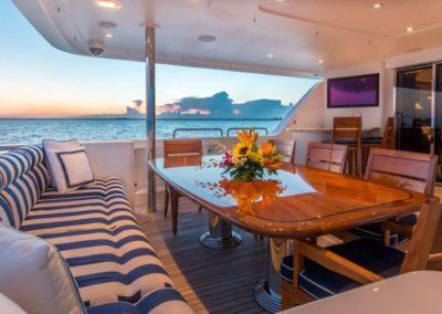 112 Westport yacht aft dining