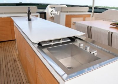 105 San Lorenzo yacht flybridge bar and galley