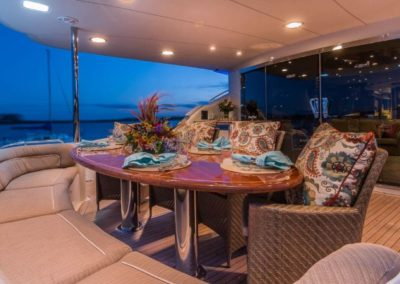 106 Lazzara yacht aft deck casual dining