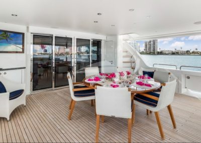 112 Westport luxury yacht aft deck casual dining