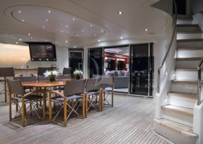 130 Westport yacht aft deck casual dining