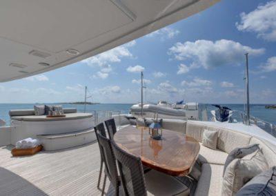 130 Westport yacht flybridge seating