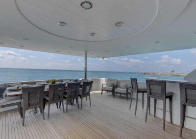 130 Westport yacht aft deck bar and casual dining