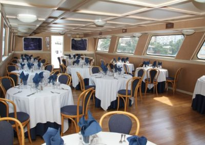 131 Swiftship yacht dining tables
