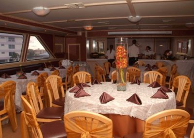 142 Swiftship yacht dining room with staff