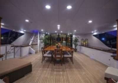 164 Trinity yacht aft deck casual dining table