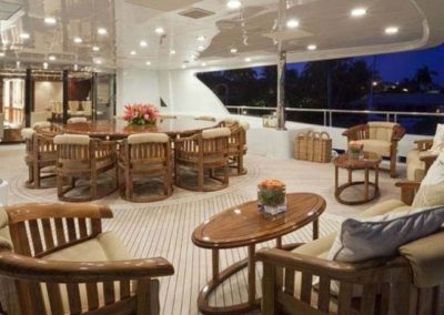 164 Trinity yacht upper deck lounge and casual dining