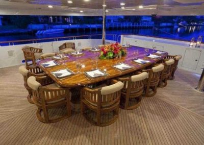 164 Trinity yacht lower deck lounge and casual dining