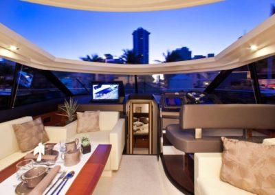 50 Prestige yacht salon with open sunroof