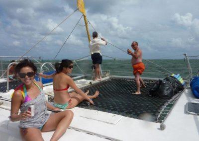 50 Sailing party catamaran forward hull screens with guests