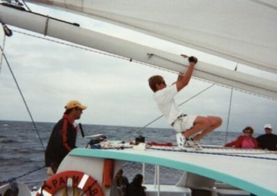 55 Sailing party Catamaran crew at work