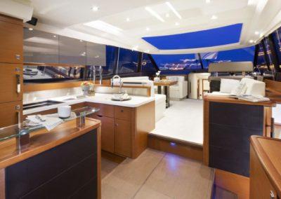 56 Prestige yacht salon and galley
