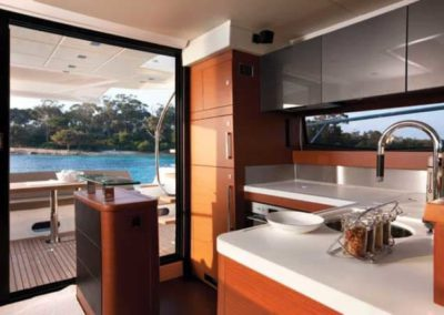 56 Prestige yacht galley and aft deck