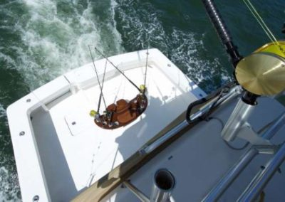 60 Viking sportfish yacht aft deck with rod holding table