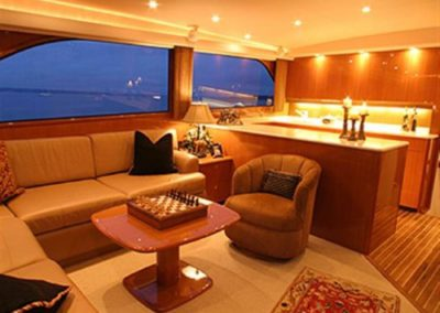 62 Viking sportfish yacht galley and salon