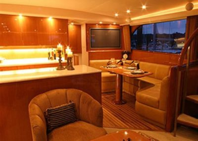 62 Viking sportfish yacht galley and dinette