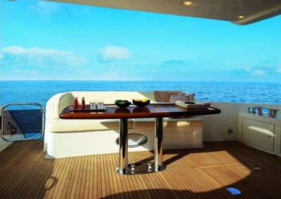 68 Azimut yacht aft deck dining