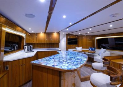 70 Hatteras sportfish yacht galley and dining