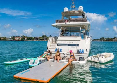 70 Prestige Miami charter yacht fun at anchor