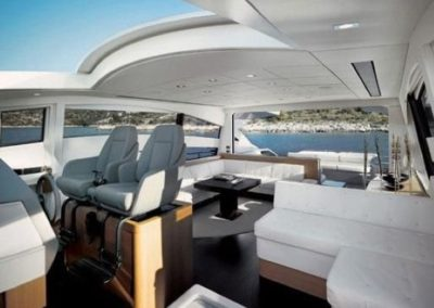 72 Pershing yacht helm and salon