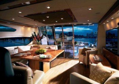 72 Sunseeker yacht salon and aft deck