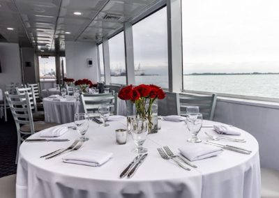 74 Skipperliner party yacht dining table arrangement