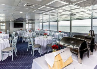 74 Skipperliner party yacht dining arrangement