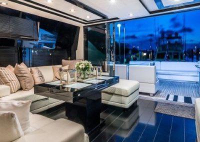 74 Sunseeker yacht salon and aft deck