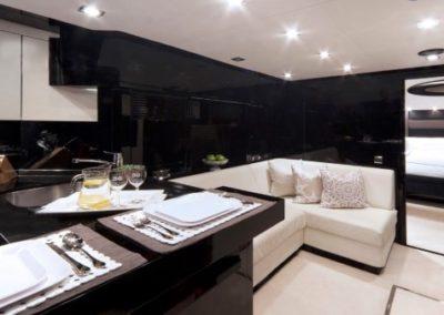 74 Sunseeker yacht galley and salon