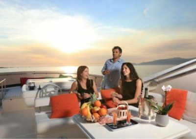 75 Ferretti yacht sunset coctail