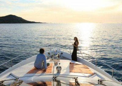 75 Ferretti charter yacht sunset cruise