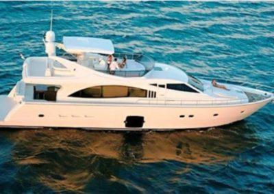 75 Ferretti charter yacht at anchor