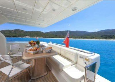 75 Ferretti yacht aft deck dining