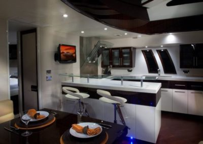 75 Lazzara yacht galley and dining