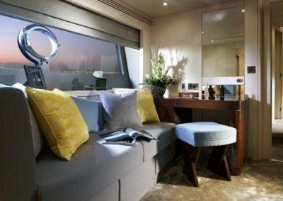 75 Sunseeker yacht master stateroom sofa