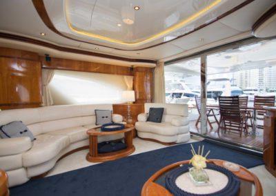 80 Azimut yacht salon and aft deck