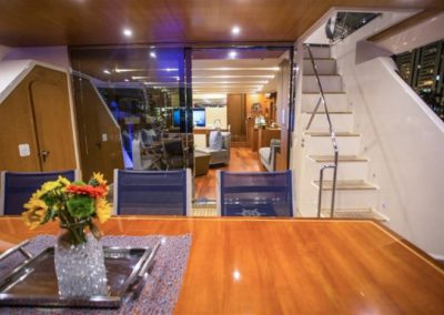 85 Aicon yacht aft deck dining