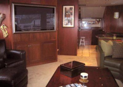 90 Hatteras sportfish yacht salon with entertainment center