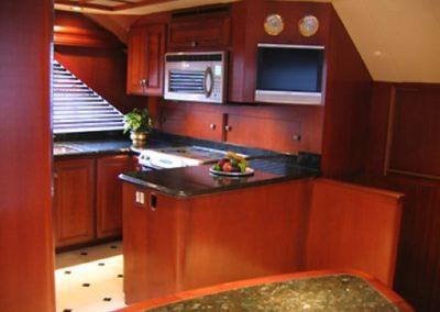 90 Hatteras sportfish yacht galley