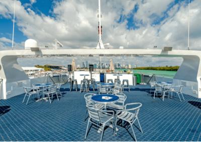 111 Austal party yacht top deck lounge