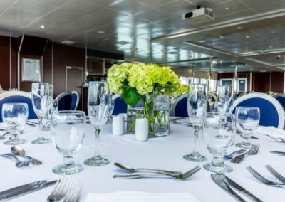 111 Austal party yacht dining table display