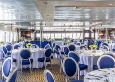111 Austal party yacht main deck dining arrangement