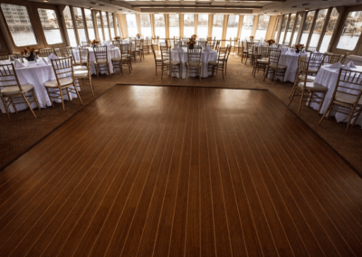 130 Chesapeake party yacht dance floor and dining tables