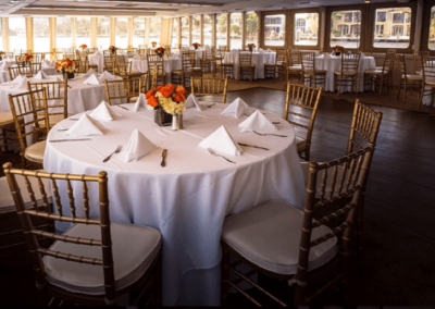 130 Chesapeake party yacht dining salon and dance floor